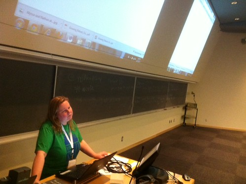 My friend @raincoaster speaking on Activism through WordPress #yyjWordCamp #wcv12