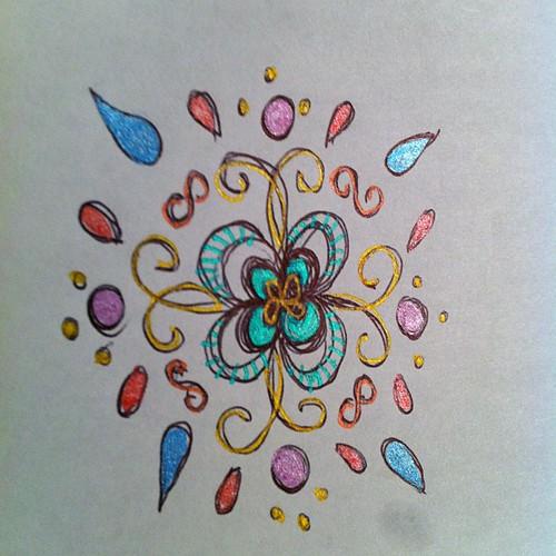 Pentel Sunburst gel pen doodle.