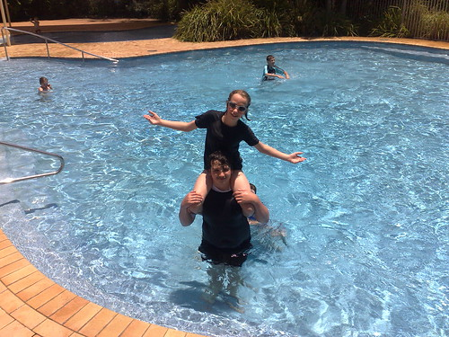 In the pool at Fingal Bay