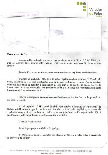 Contestación do Valedor do Pobo libro censurado páx, 1 by romanlandin