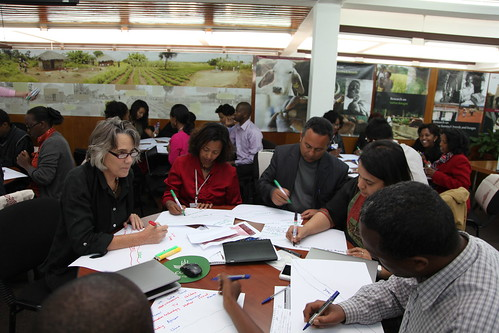 Participants engage in river of life session