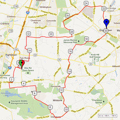 06. Bike Route Map. Etra Lake Park, Hightstown, NJ
