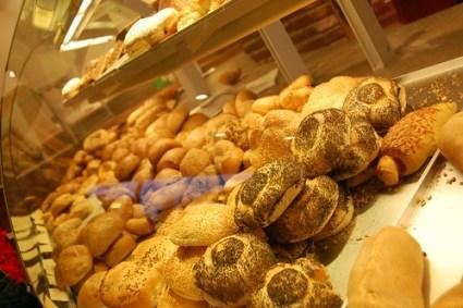 Breads in a bakery case