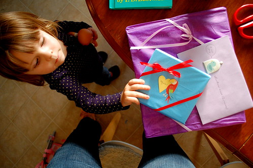 Opening grandma's presents.