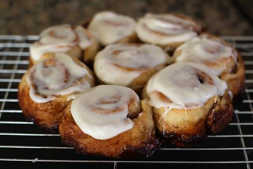 cinnamon rolls, glazed