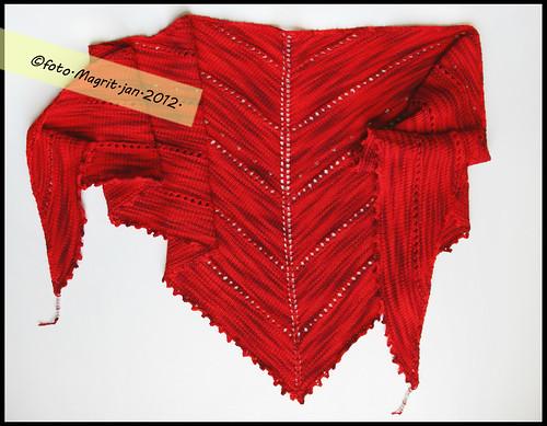 red triangular scarf