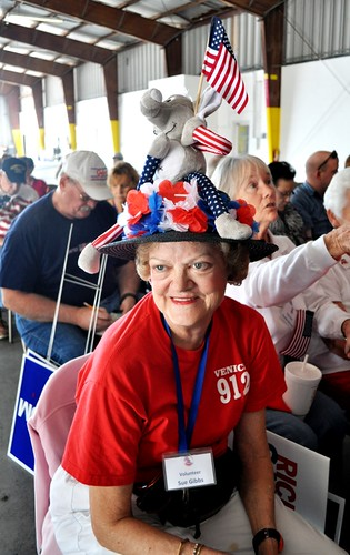 Sue Gibbs Shows Off Her Hat during Rally for Republican Presidential Candidate Rick Santorum, Sarasota, Fla., Jan. 29, 2012