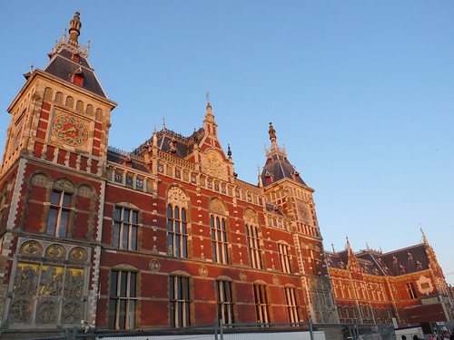 Amsterdam Centraal Station in setting sun