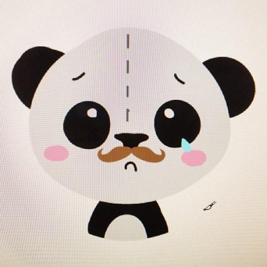 Mustached sad panda