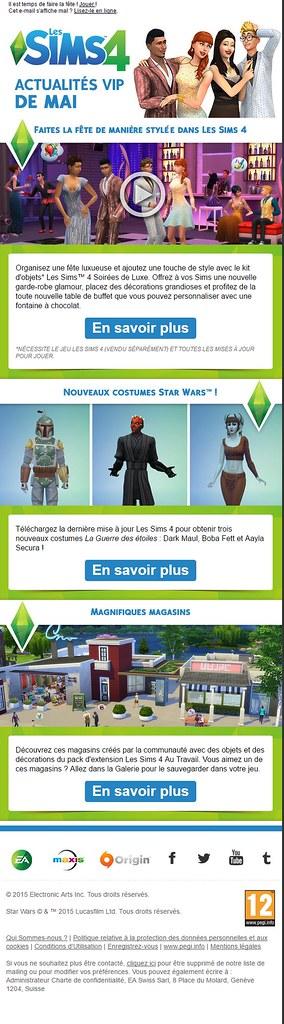 Newsletter Les Sims 4 – Mai 2015