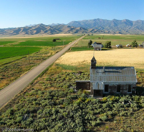 Aerial photograph of an abandoned schoolhouse. Idaho Agriculture near the Sawtooth National Recreation Area - Kite Aerial Photograph