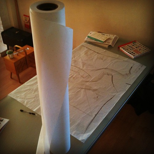 And that's what 150 meters of tracing paper looks like. Guess sewing and I are in a committed relationship.