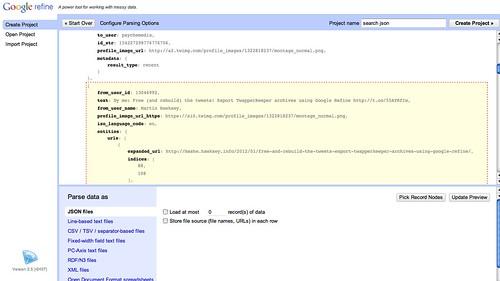 JSON import in Google Refine