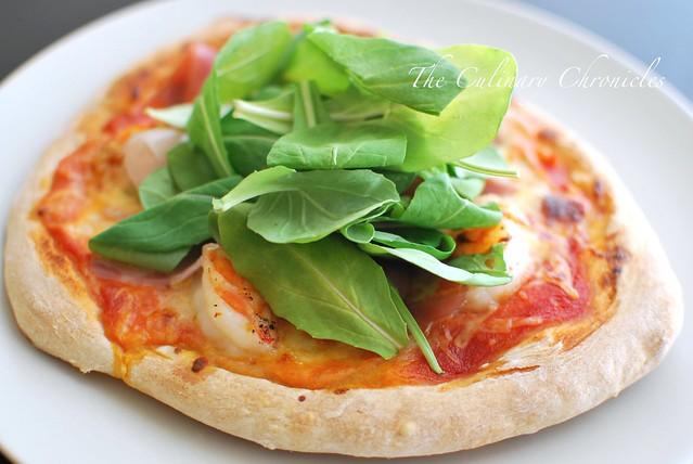 Shrimp and Prosciutto Pizza with Fresh Arugula