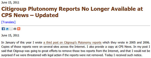 Plutonomy report no longer available on CPS News
