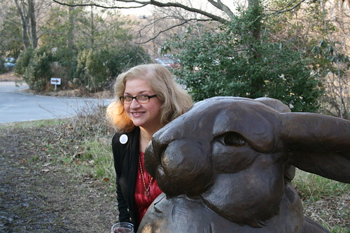 Dianne and the Brandywine Bunny sculpture