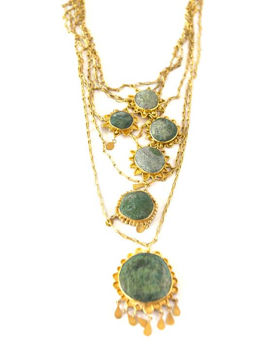 TM Chrysocola 6 Sun Necklace