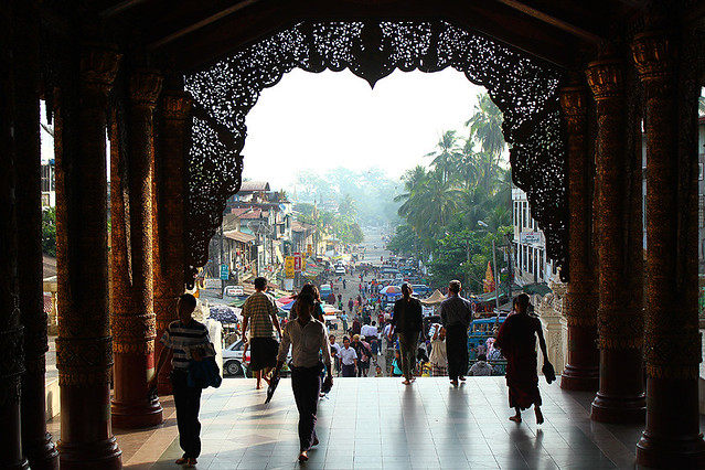 View of the streets from the East Gate, Swedagon Pagoda, Yangon