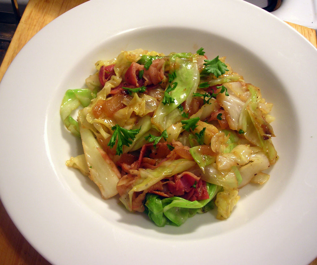 Cabbage, with onion and pancetta