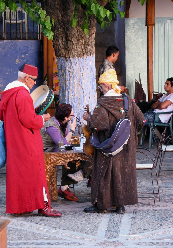 Local entertainers in Chefchaouen Morocco