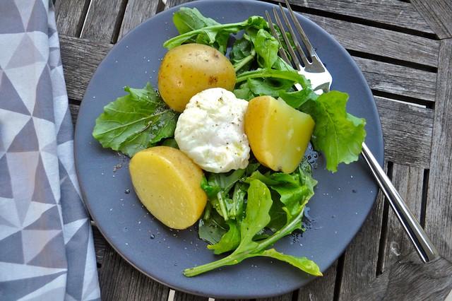 Breakfast Salad with Broth-Braised Potatoes