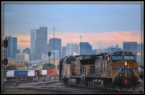 Denver Skyline from The California zephyr by Loco Steve