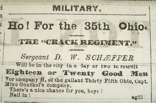 Sgt. D. W. Schaeffer named in Recruitment ad for 35th O.V.I., Aug. 1862