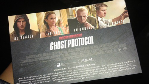 Back if Mission Impossible Ghost Protocol premiere ticket!
