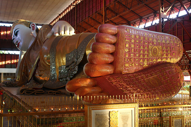 A giant reclining Buddha in Yangon