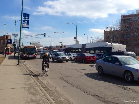 Heavy traffic in Logan Square
