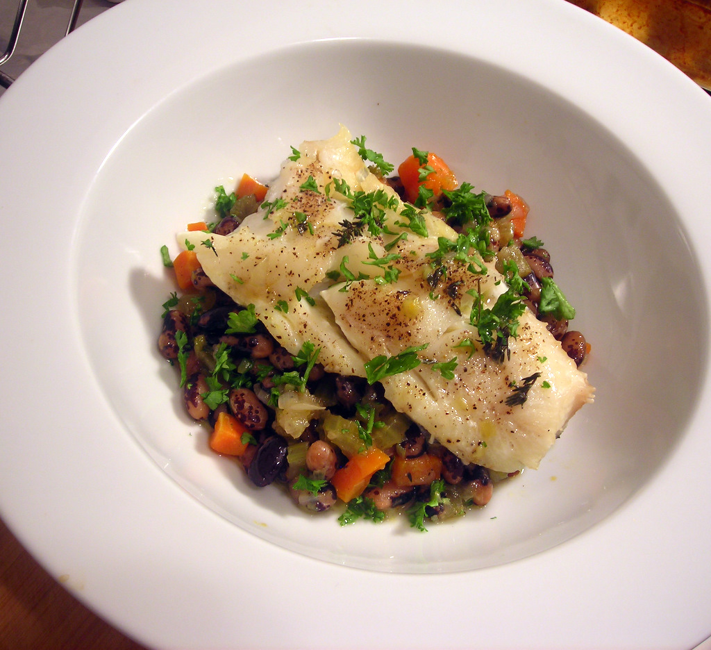 Haddock, with heirloom beans and aromatic vegetables