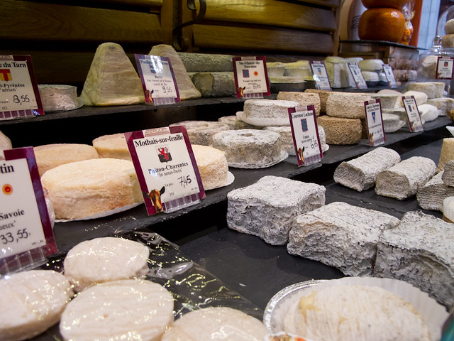 Cheeses and more cheeses from Androuet cheese shop in Paris
