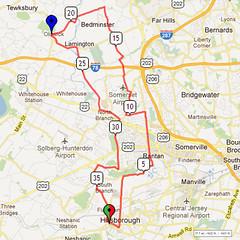 05. Bike Route Map. Somerset Valley YMCA, Hillsborough, NJ