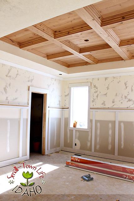 Remodelaholic | DIY Master Bedroom Wood Coffered Ceiling