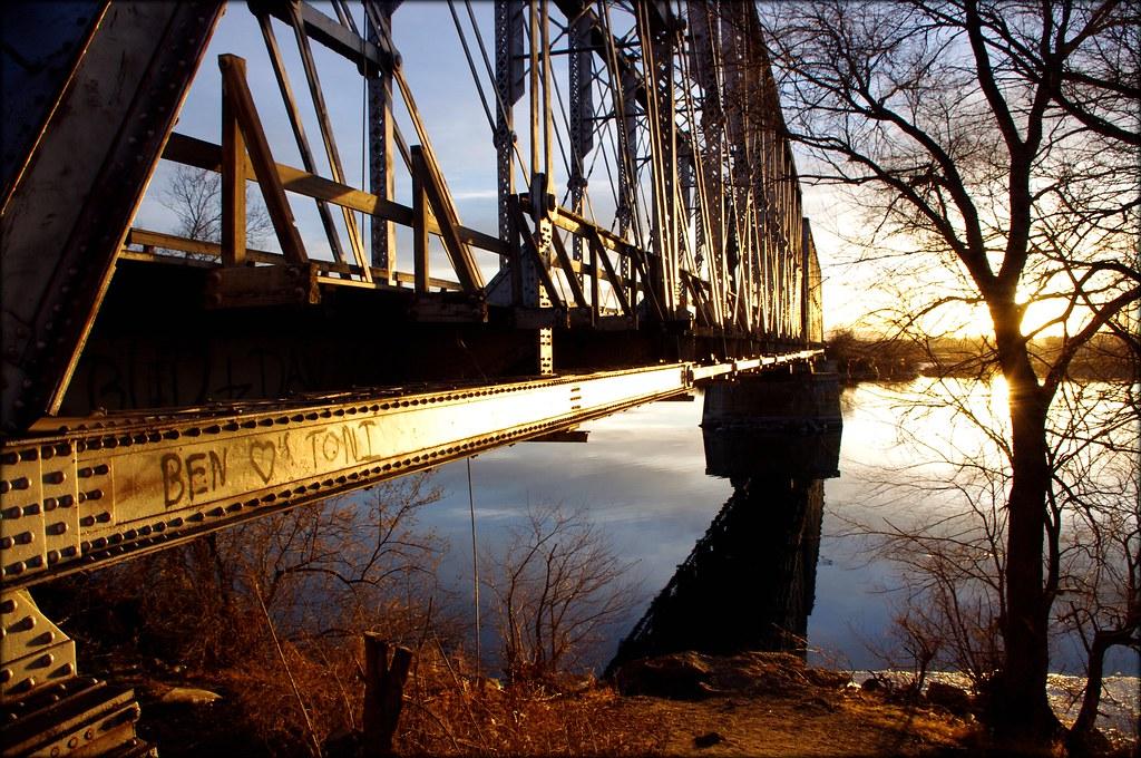 train bridge at sunset