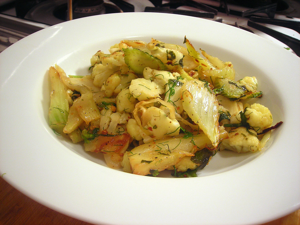 Sautéed fennel and cauliflower