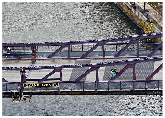 Biking over the Grand Avenue Bridge