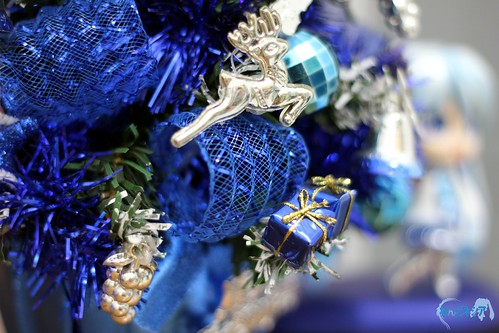 Close up on the blue-ish Christmas Tree