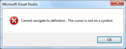 Cannot navigate to definition. The cursor is not on a symbol.