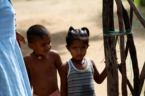 Two children, beneficiaries of our toilet construction project