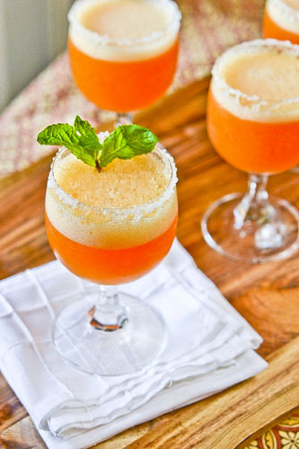 Peach Champagne Cocktails 4