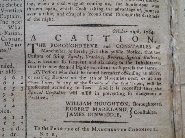 A Caution, 29 Oct 1784