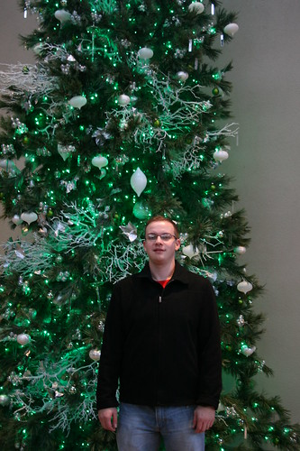 Sean in front of the Green tree