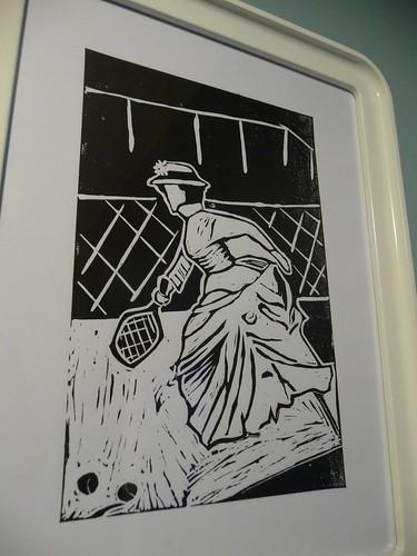 Tennis linocut print