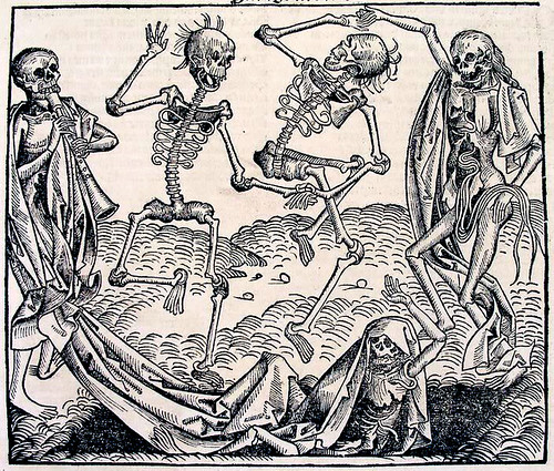 Michael Wolgemuts allegorical depiction of the Black Death. The Dance of Death, 1493.
