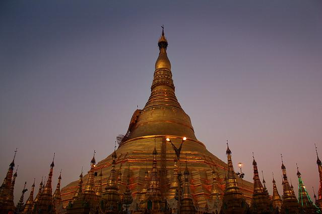 Swedagon Pagoda at sunset