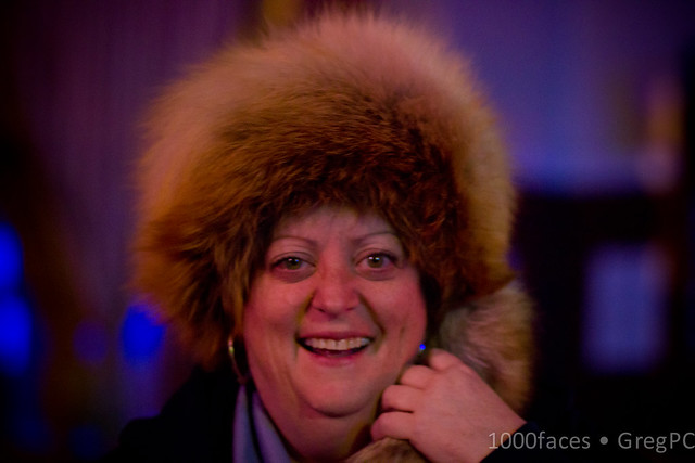Face - smiling woman in a fox hat