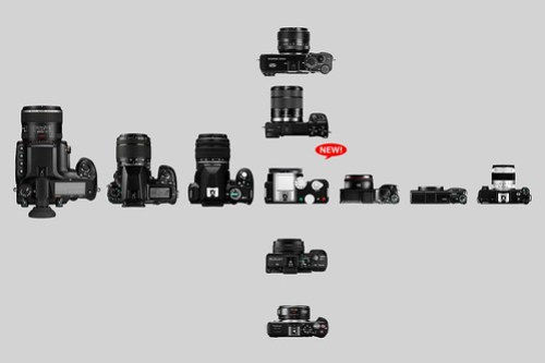 PENTAX K-01 comparison with other cameras (Top View)