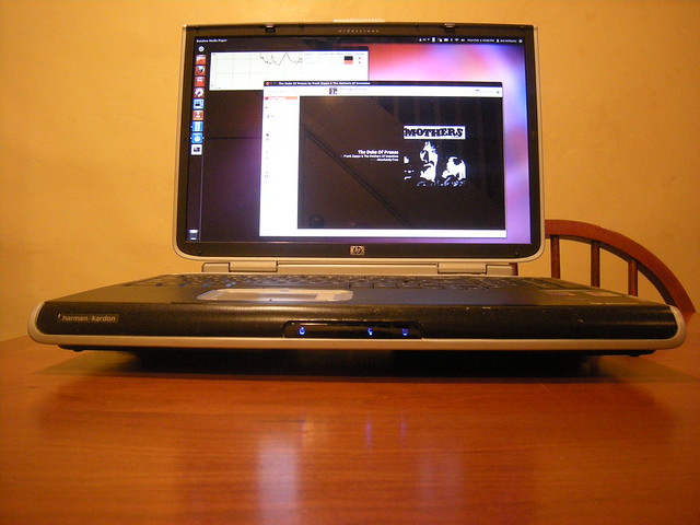 The Mothers of Invention playing on Banshee running within Ubuntu on a HP Pavilion ZD8000 Rescued from a Dumpster