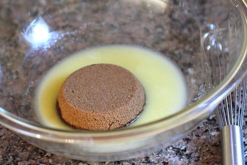 melted butter + dark brown sugar